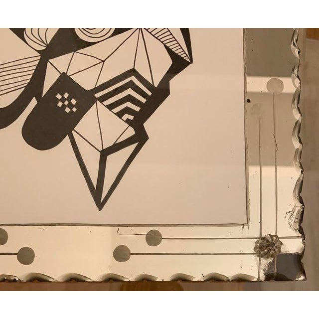 Art Deco Abstract Original Ink Drawing in Vintage Mirrored Art Deco Style Frame For Sale - Image 3 of 5