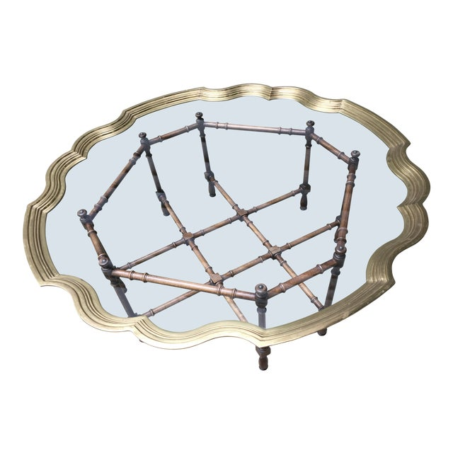 20th Century Chinoiserie Style Glass & Brass Cocktail Tray Table For Sale