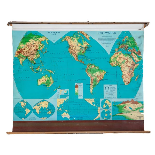 Vintage 60s Costello Pull Down Map of World - Image 1 of 9