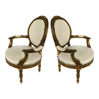 19th Century French Gilt Wood Fauteuil Armchairs - a Pair For Sale