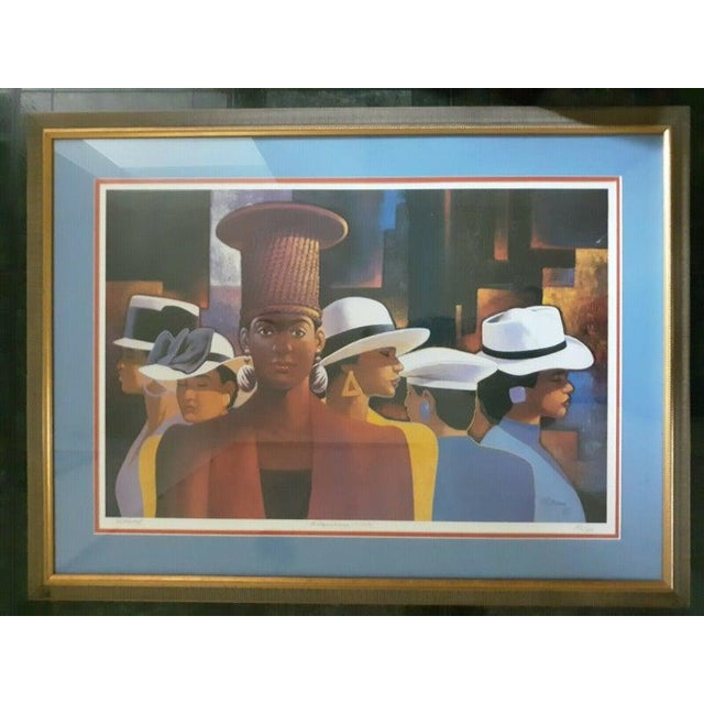 """1990s 1990s """"A Preponderance of Hats"""" Postmodern Figurative Print by Cal Massey, Framed For Sale - Image 5 of 5"""