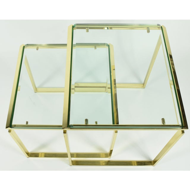 Pair of Brass & Glass Modernist Nesting Tables - Image 6 of 8