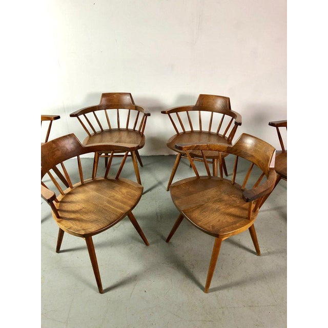 Early One of a Kind George Nakashima Dining Set With Six Captain Chairs Usa 1966 For Sale - Image 11 of 12