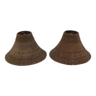 Vintage Wicker Lamp Shades - a Pair For Sale