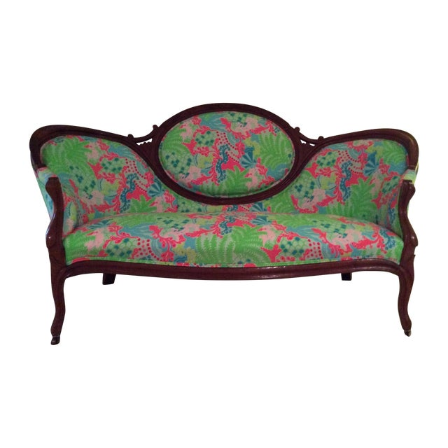 Lilly Pulitzer Refurbished Antique Settee/Sofa - Image 1 of 7