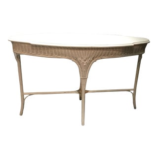 Vintage Oval Wicker Table For Sale