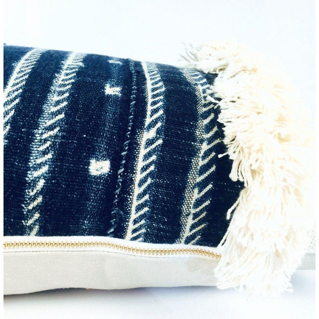 African Fringe Mixed Indigo Blue African Mudcloth Small Lumbar Pillow For Sale - Image 3 of 4