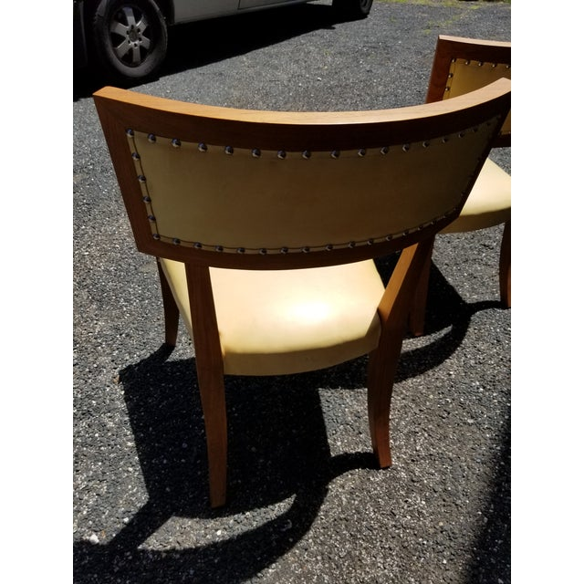 1990s Pair of Yellow Leather Side Chairs by Ironies For Sale - Image 5 of 9