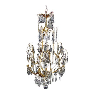 Six Arm Crystal Chandelier For Sale