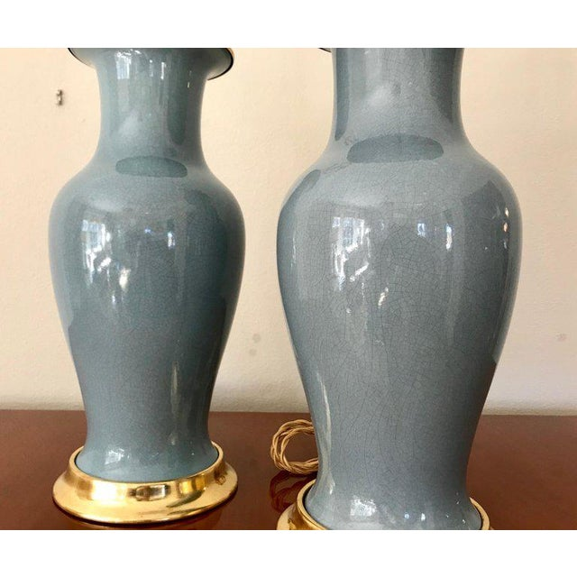 Brass Slate Blue Ceramic on 23-Karat Water Gilt Base Table Lamps - a Pair For Sale - Image 7 of 13