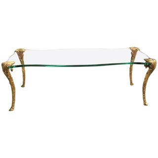 Maison Charles Gilt Bronze and Glass, Mid-Century Coffee Table For Sale