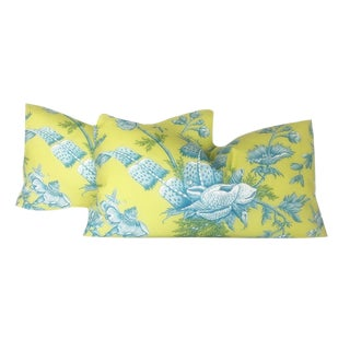 Brunschwig & Fils French Shell Toile Lumbar Pillows - A Pair For Sale