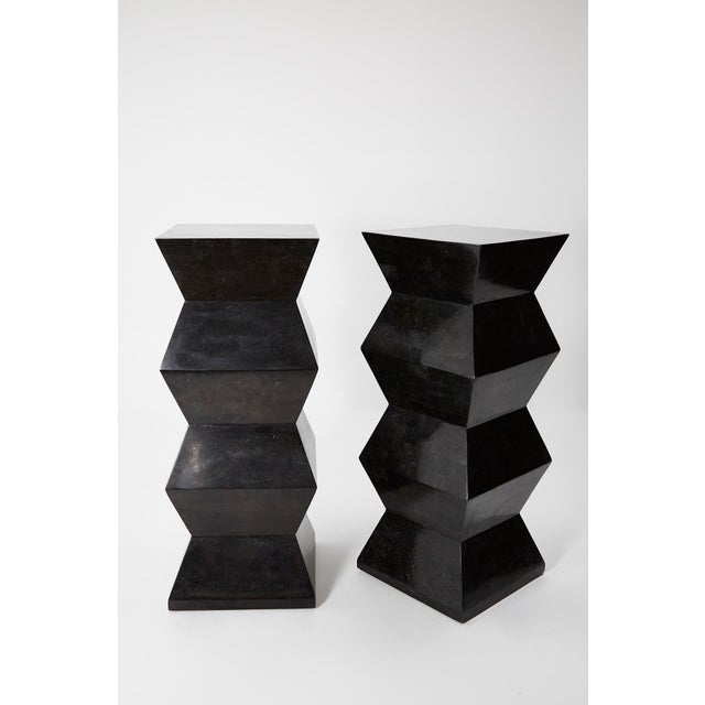 Stone 1990s Vintage Oversized Postmodern Tessellated Black Stone Accordion Pedestal For Sale - Image 7 of 13