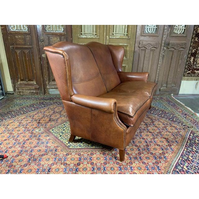 Vintage Danish Sheep Skin Leather High-Back Sofa For Sale - Image 4 of 6