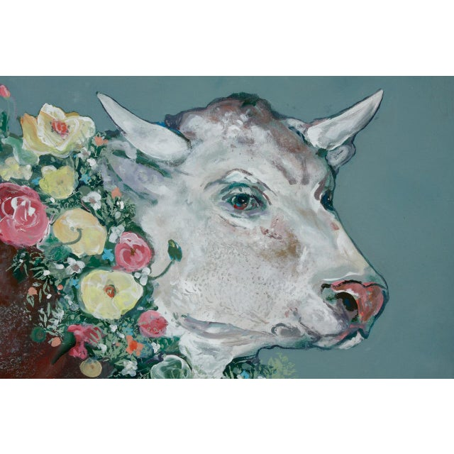 French Provincial French Flowered Cow With Chickens Painting by Ira Yeager For Sale - Image 3 of 13