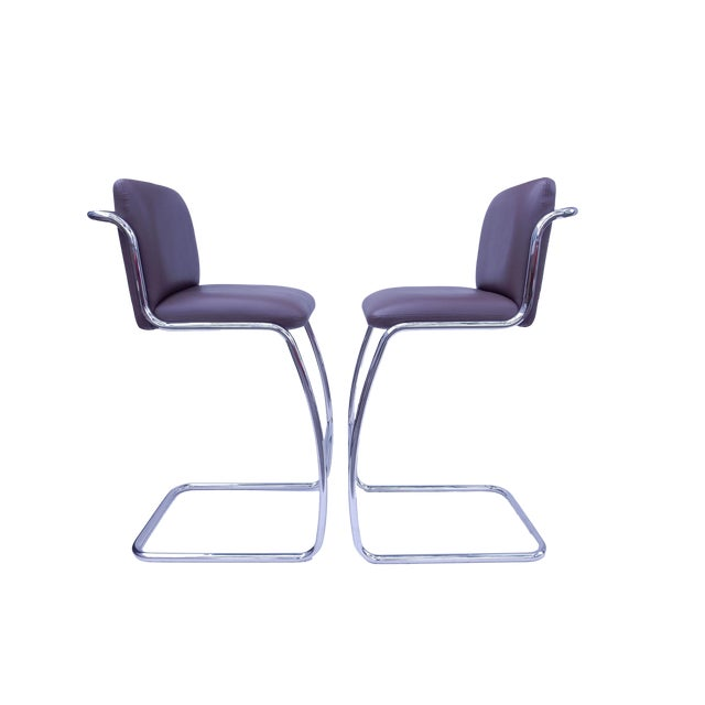 Brueton Modern Leather Barstools - A Pair - Image 1 of 5