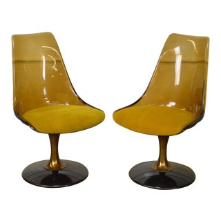 Chromcraft Mid-Century Smoked Lucite Swivel Chairs - A Pair