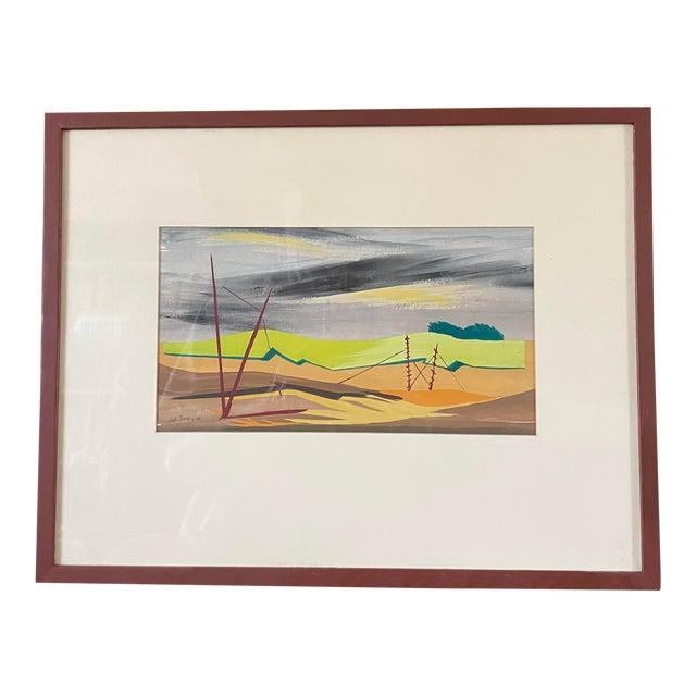 """1950s """"Mac Le Sueur"""" Landscape Gouache Painting, Framed For Sale"""