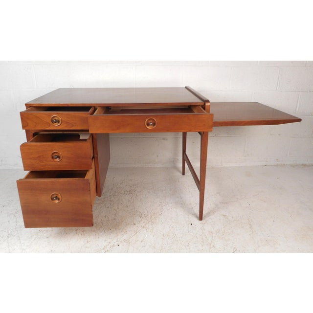 Mid-Century Modern Desk With Side Extension For Sale - Image 4 of 12
