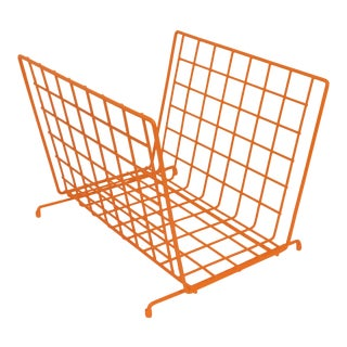 Mid Century Modern Orange Wire Metal Magazine Rack