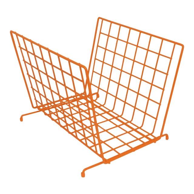 Mid Century Modern Orange Wire Metal Magazine Rack For Sale