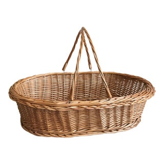 Vintage Wicker Oval Wooden Woven Basket For Sale