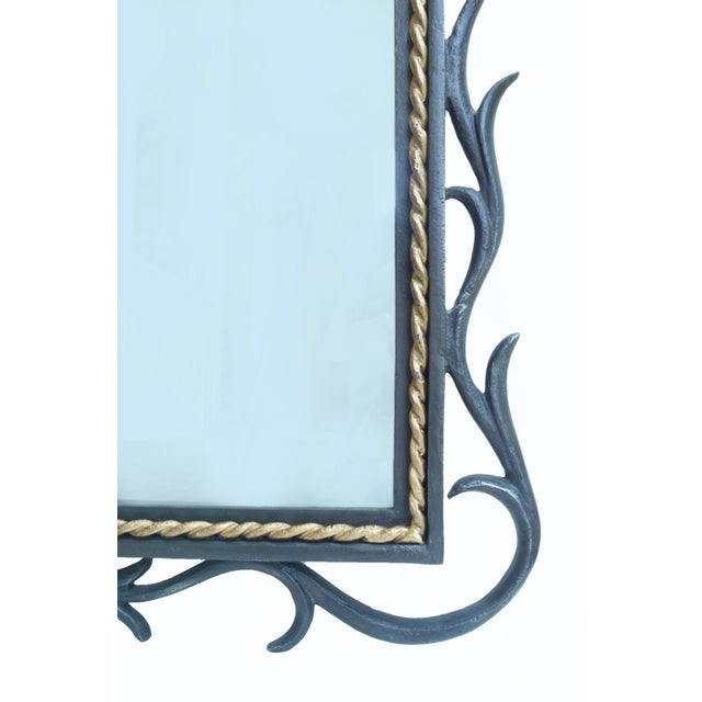 Gilbert Poillerat 1950s Gilbert Poillerat-Style Iron & Gilt Wall Mirror For Sale - Image 4 of 6