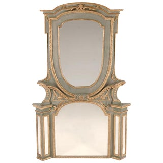 Italian Parcel-Gilt Green Painted Mirror, 19th Century For Sale
