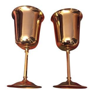 Gilt Brass Wine Glasses- A Pair For Sale