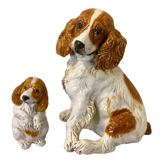 Large Scale Italian Spaniel Dog & Puppy Figures - a Pair