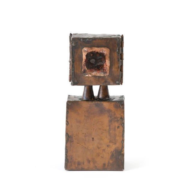 Abstract Brutalist Copper Sculpture With 3-Door Top For Sale - Image 3 of 7