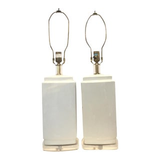 White Modern Ceramic and Lucite Table Lamps - a Pair For Sale