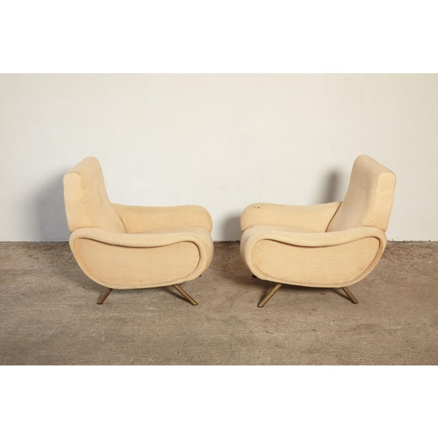 Brass Original Marco Zanuso Lady Chairs, Arflex, Italy, 1960s for Reupholstery For Sale - Image 7 of 10