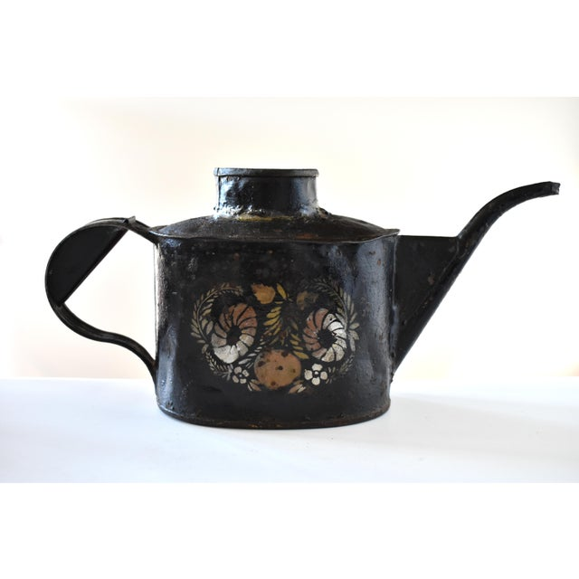 Antique 1830s Americana Painted Gold and Silver Tole Watering Pot For Sale - Image 12 of 12