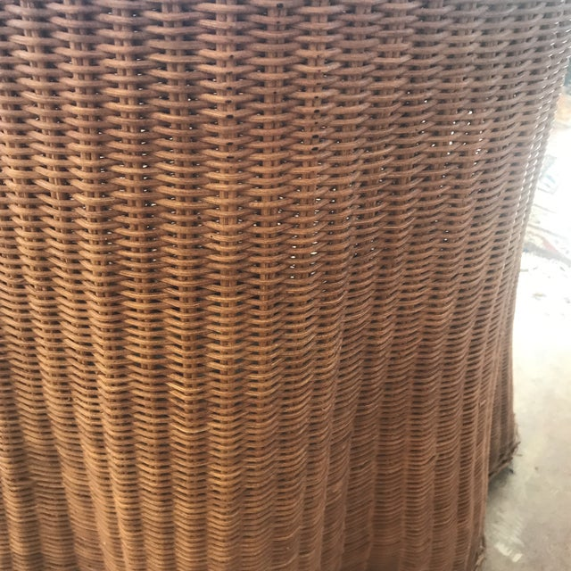 Mid Century Wicker Trompe L'oeil Draped Ghost Table - Image 4 of 8
