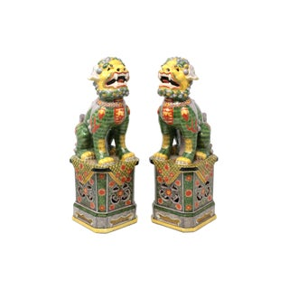 Green and Yellow Foo Dogs - a Pair