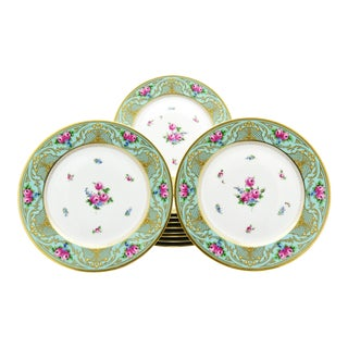 Set of 11 Lamm Dresden Turquoise Raised Gold & Hand-Painted Rose Dinner Plates For Sale