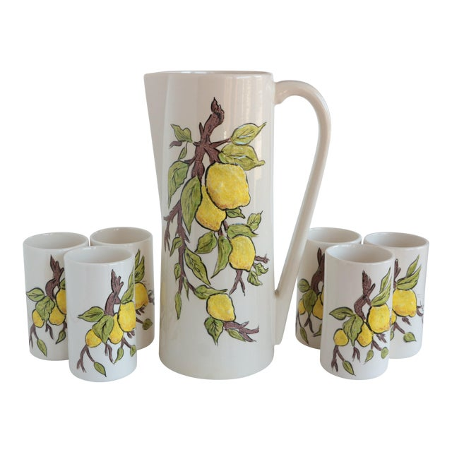 Lemon Branch Pitcher and Tumblers - Set of 6 For Sale