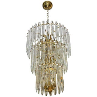 Large Three-Tier Gaetano Sciolari Italian Crystal Chandelier For Sale
