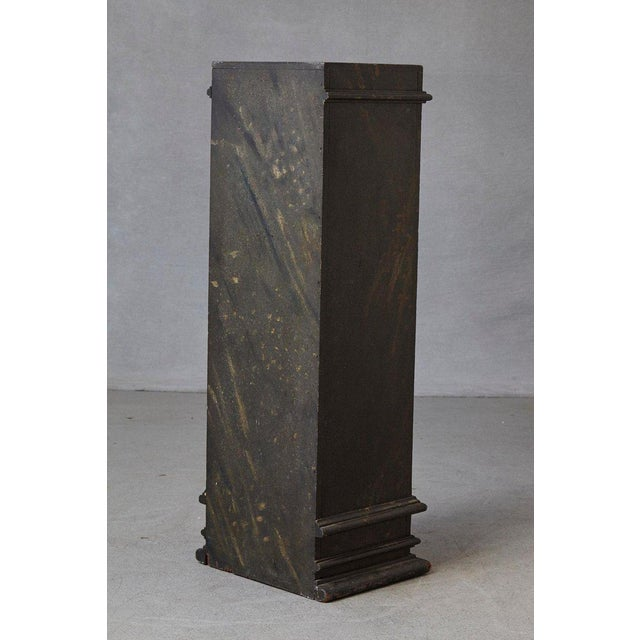 Mid-Century Modern 19th Century Swedish Hand-Painted Pedestal With Faux Marbleized Pattern For Sale - Image 3 of 9
