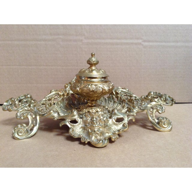Brass Late 1800's Brass Inkwell in Ornate Base For Sale - Image 7 of 7