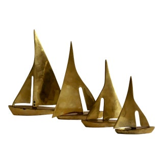 Vintage Nautical Solid Brass Sailboats – Set of 4 For Sale