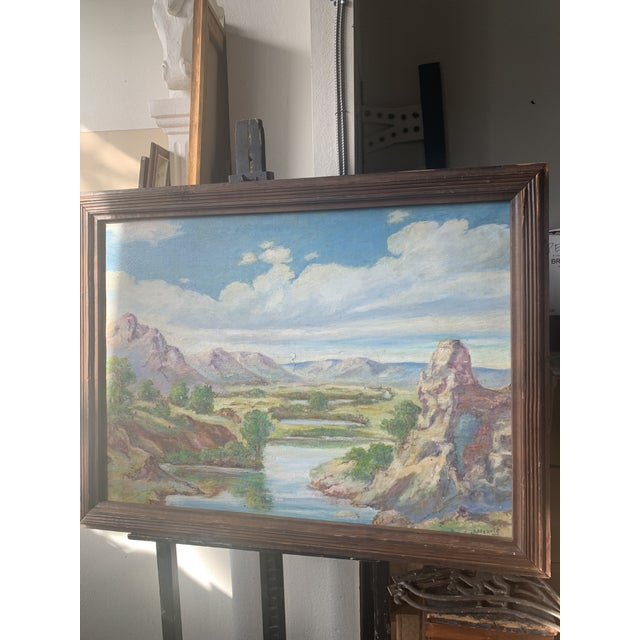 Stunning large scale landscape painting with a wooden frame signed by Mednis.
