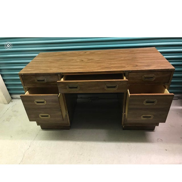 Metal Bernhardt Campaign Executive Desk For Sale - Image 7 of 8