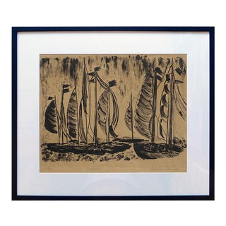 """1969 """"Many Boats"""" Nautical Lithograph by Loretta Jeanne Fuller, Framed For Sale"""