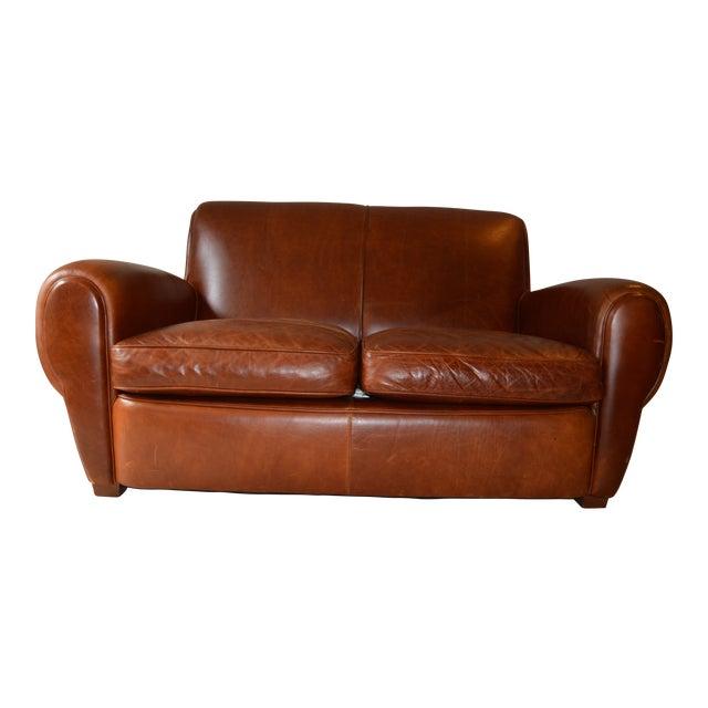 Restoration Hardware Leather Loveseat For Sale