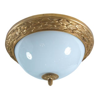 French Gilt Ormolu Dore Bronze & Opaline Dome Ceiling Light Fixture For Sale