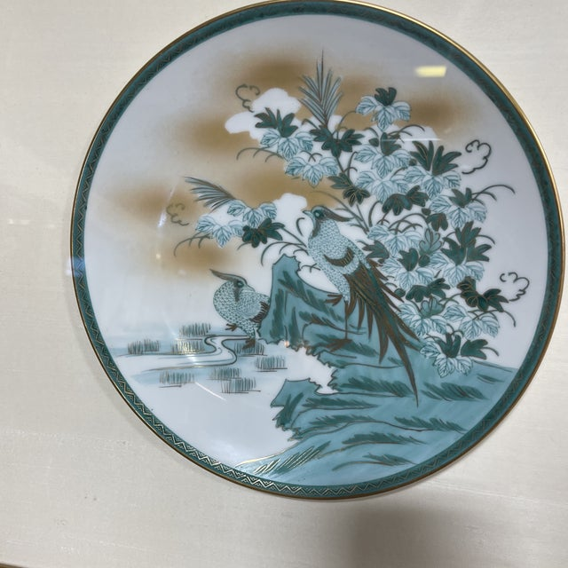 Turquoise Framed Imari Japanese Bird Plates - a Pair For Sale - Image 8 of 13