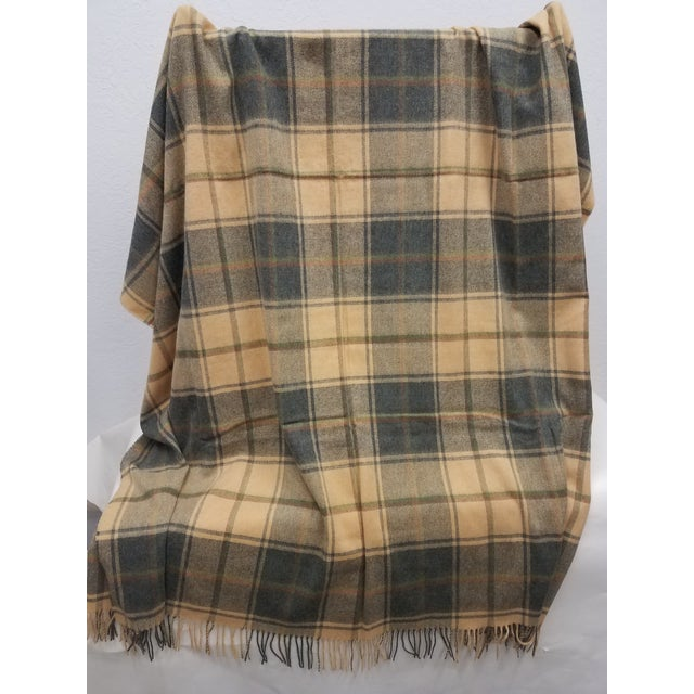 2020s Merino Wool Throw Light Soft Beige Grey Green Red Plaid - Made in England For Sale - Image 5 of 13