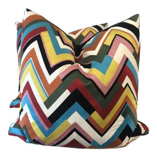 "Embroidered Chevron 22"" Pillows- a Pair"